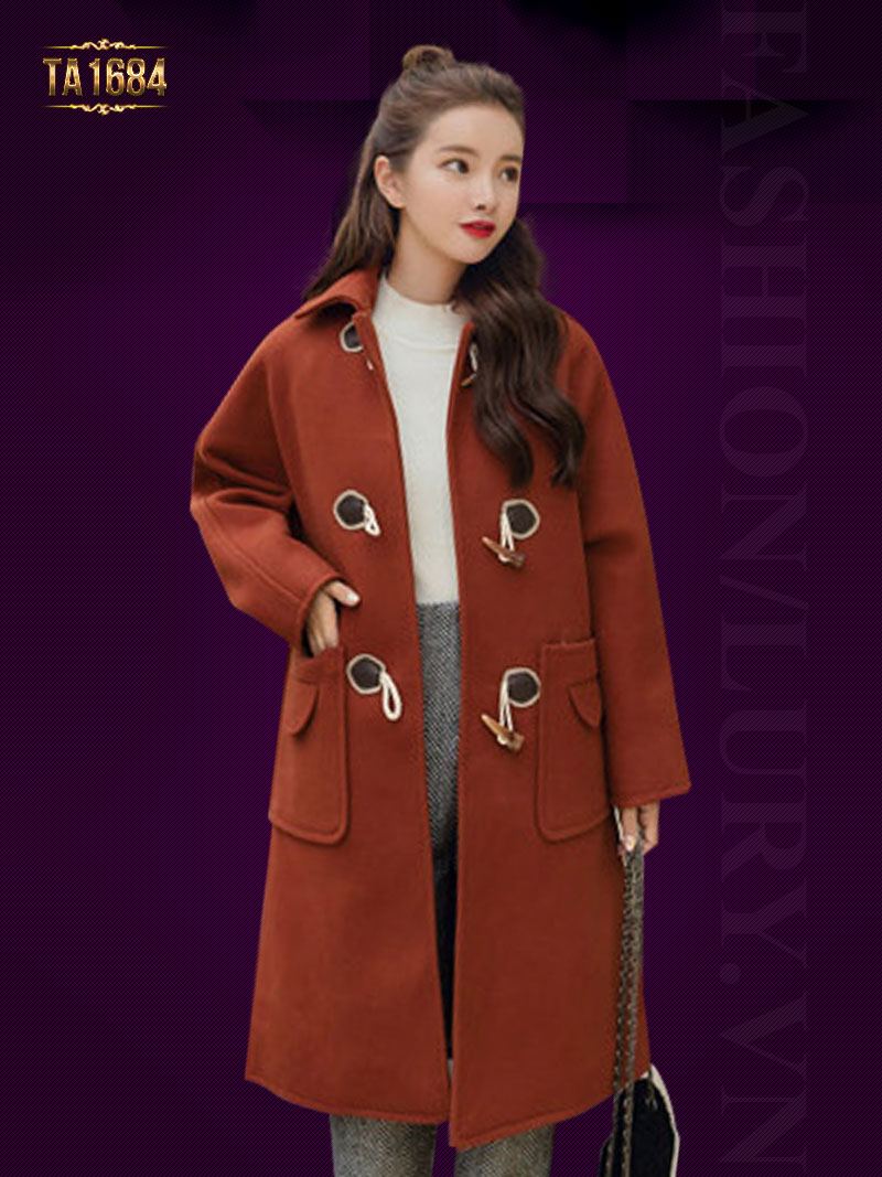 Áo khoác dạ TA1684 mới 2017 kiểu oversize đính khuy gỗ (Màu cam)