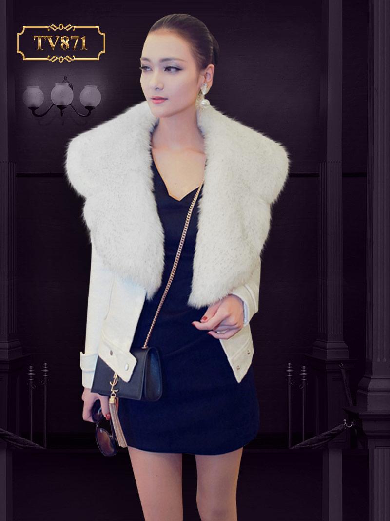 Áo khoác dạ trắng 2 túi cổ lông cao cấp