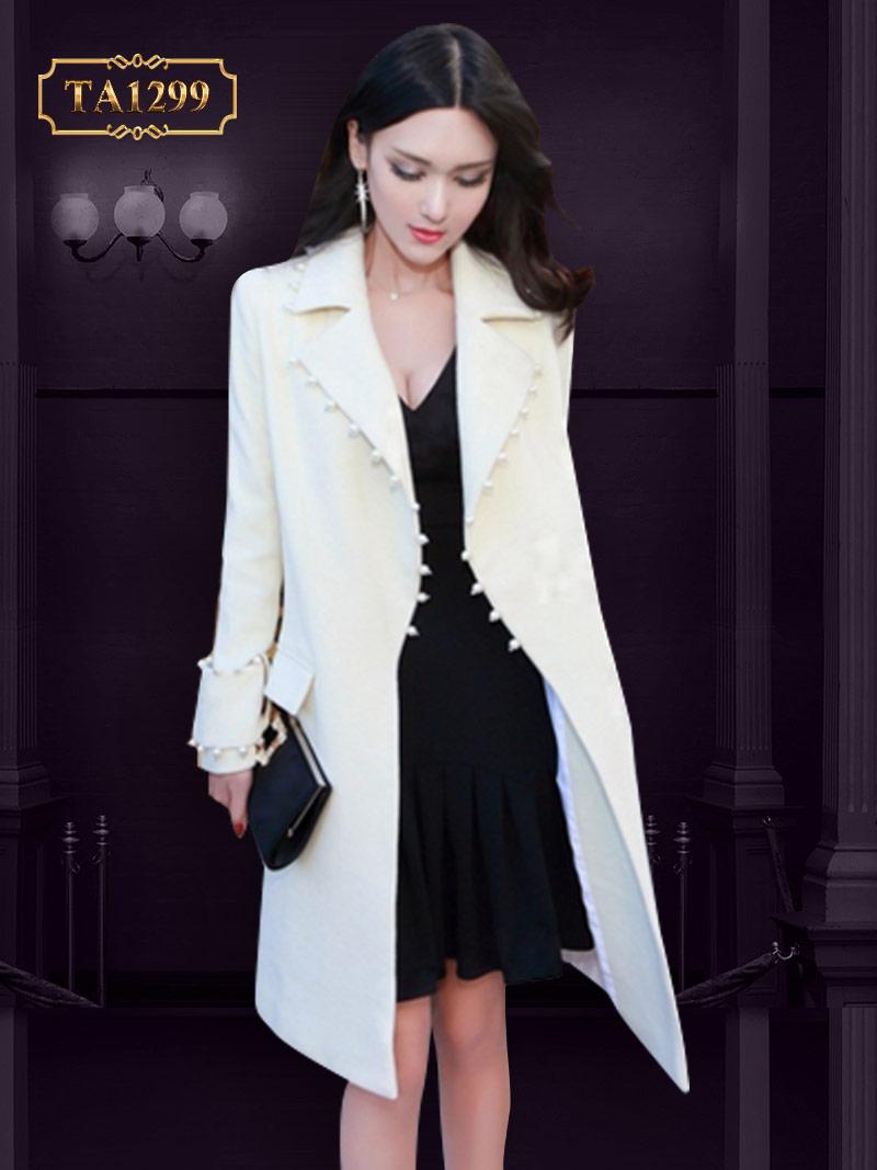 Áo khoác dạ trắng cổ vest đính hạt ngọc cao cấp TA1299