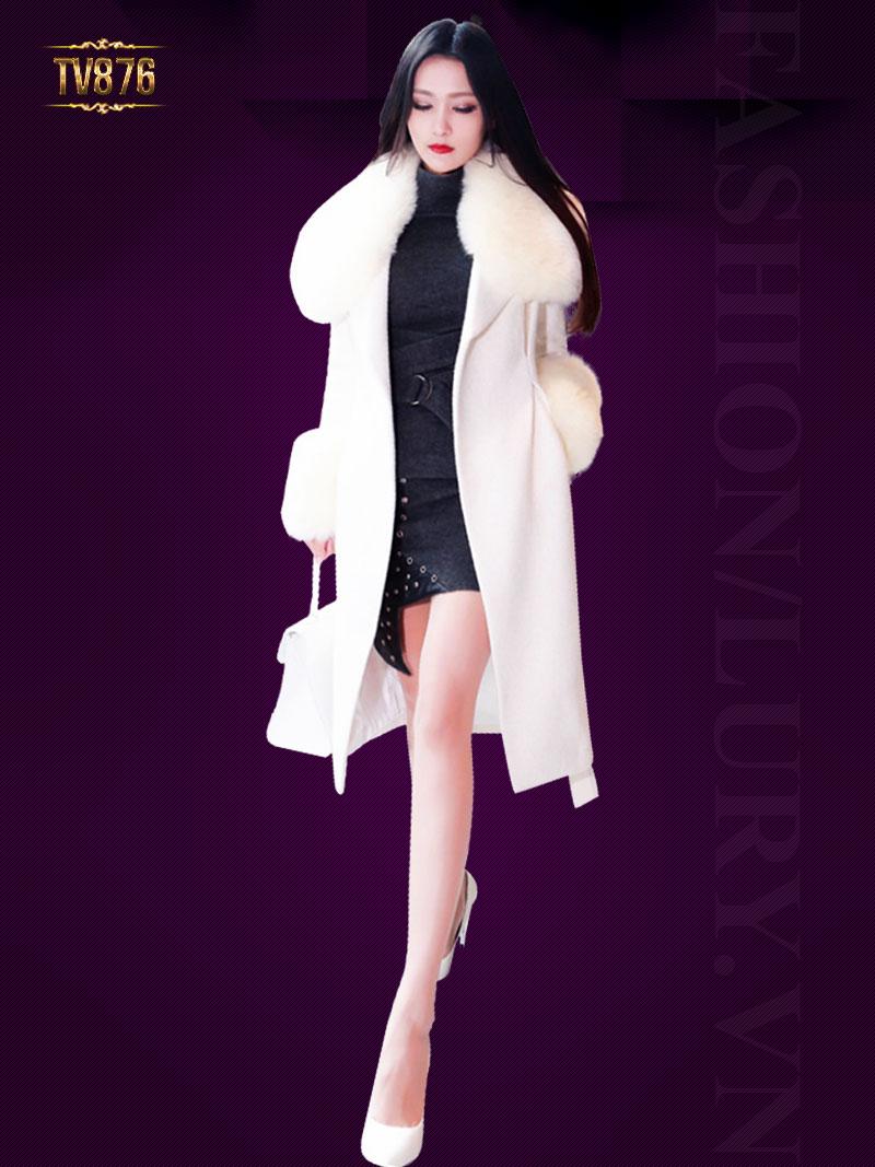 Áo khoác dạ trắng dáng dài phối lông cao cấp TV876