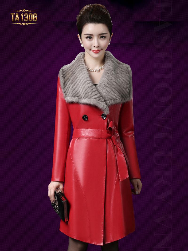 Kiểu áo da trơn dáng dài 2 cúc cổ lông thời trang tạo sức hút ấn tượng TA1306
