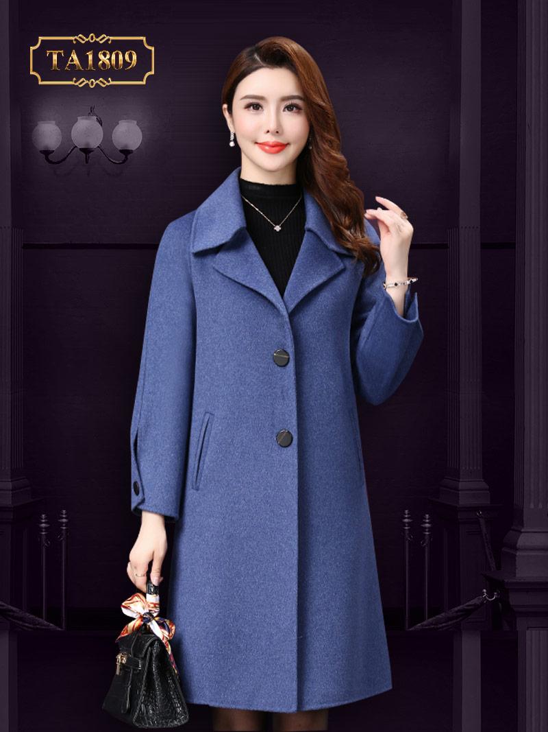 Áo khoác dạ nữ TA1809 trơn cao cấp tay đính túi thời trang 2019