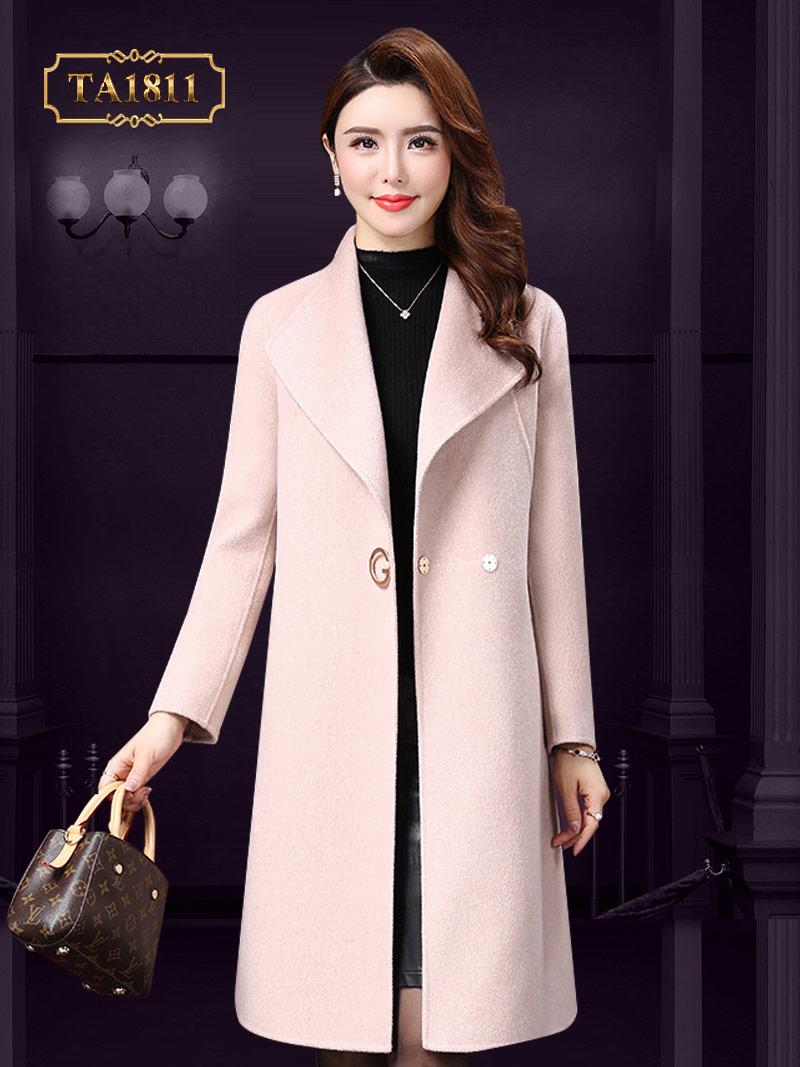 Áo khoác dạ len lông cừu TA1811 cao cấp cổ vest thời trang