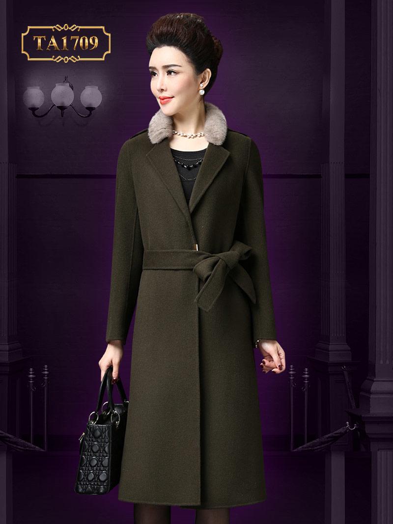 Áo khoác dạ TA1709 mới 2017 kiểu trơn cổ lông kèm dây đai