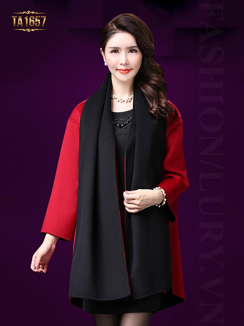 Áo khoác dạ TA1657 mới 2017 kiểu vạt high low thời trang (Màu đen)