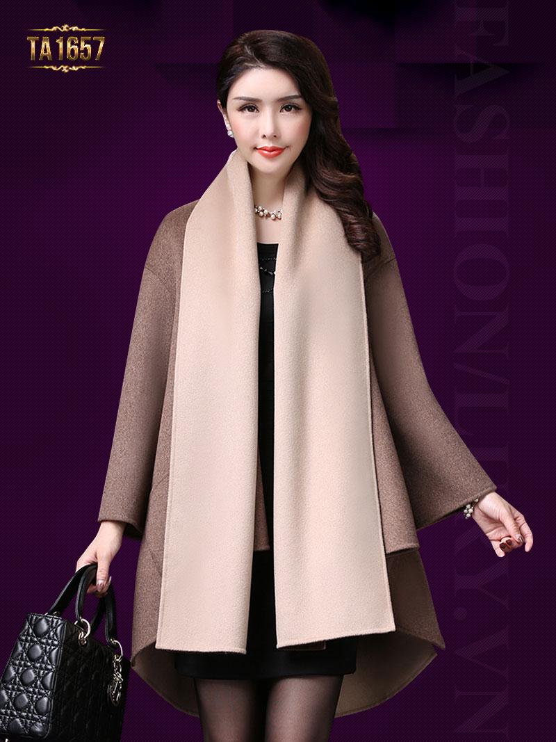 Áo khoác dạ TA1657 mới 2017 kiểu vạt high low thời trang (Nâu kem)
