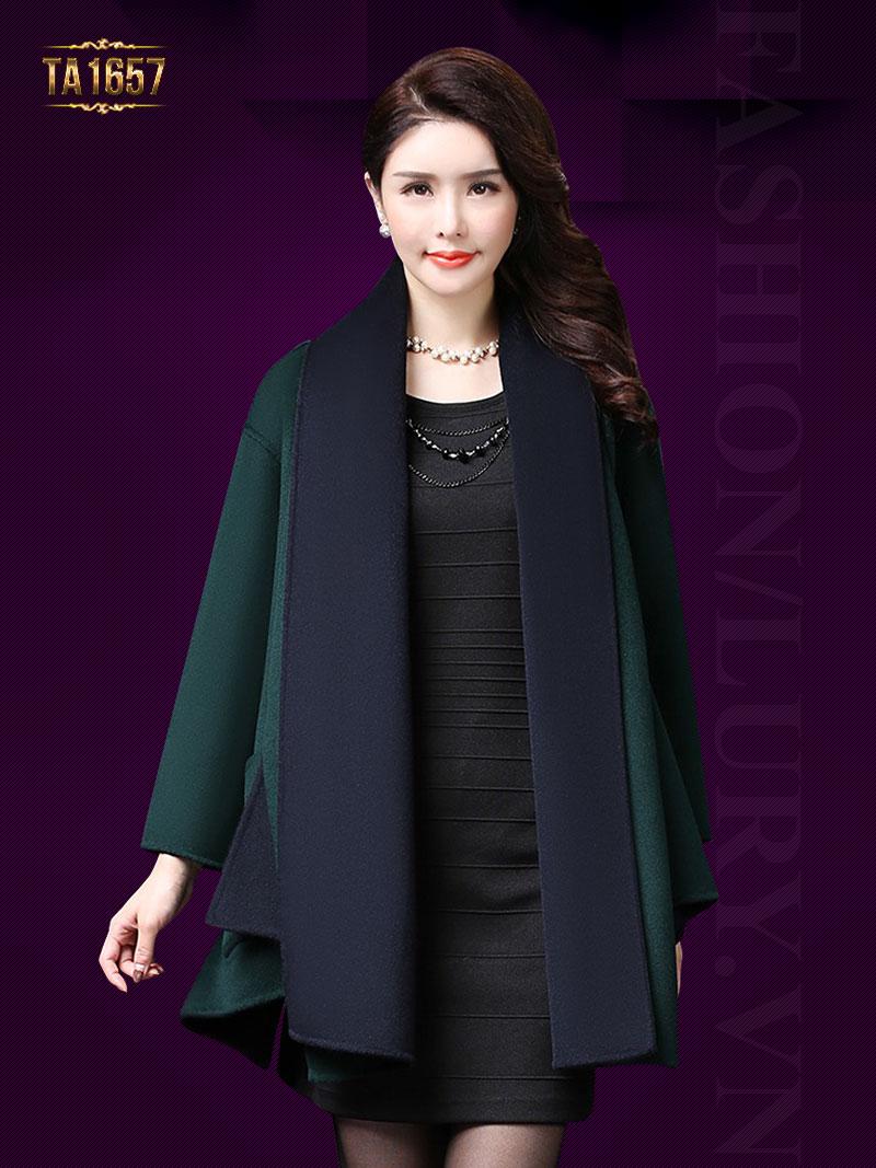 Cách thiết kế tạo vạt high low thời trang gam màu xanh cuốn hút áo khoác dạ nữ TA1657