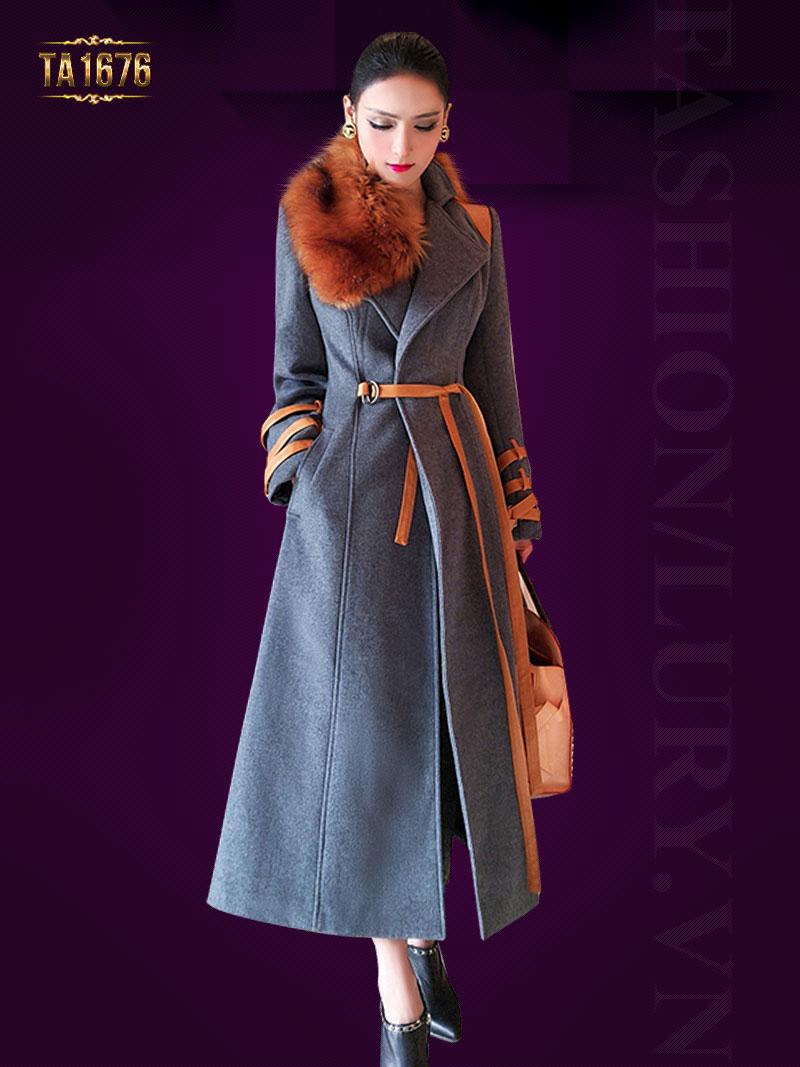 Áo khoác dạ TA1676 mới 2017 dáng váy kèm cổ lông và dây đai