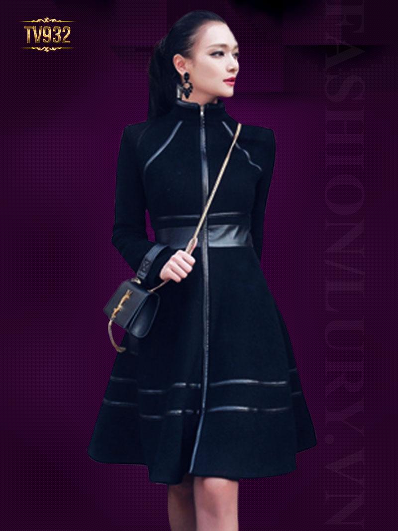 Áo khoác đen dáng váy phối viền da khóa kéo trước cao cấp TV932