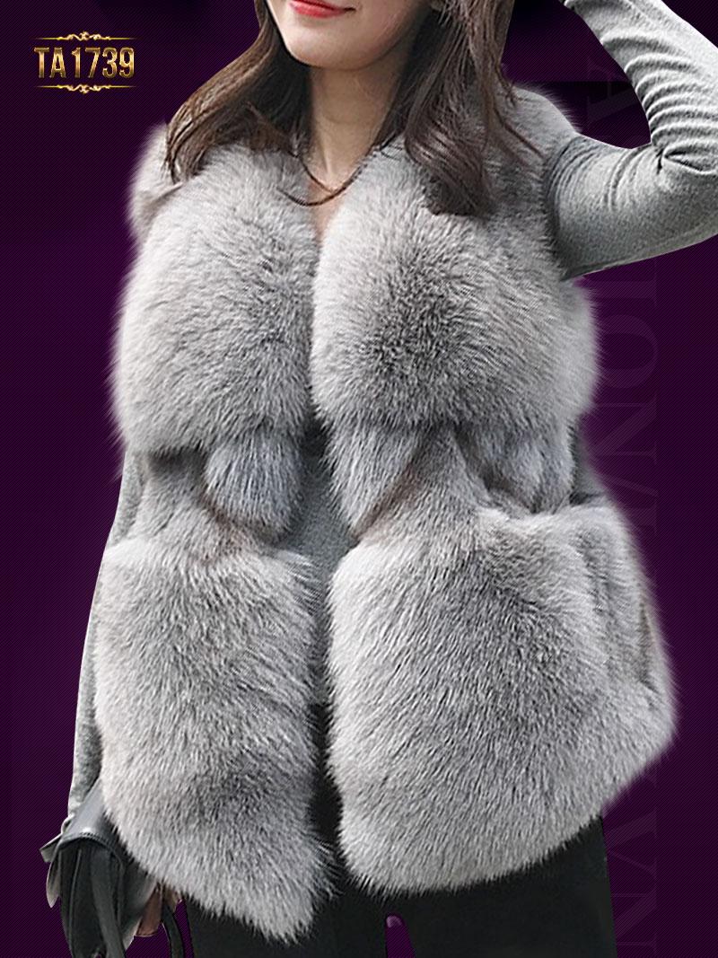 Mẫu áo khoác lông dáng ngắn ghile sang trọng gam màu xám TA1739