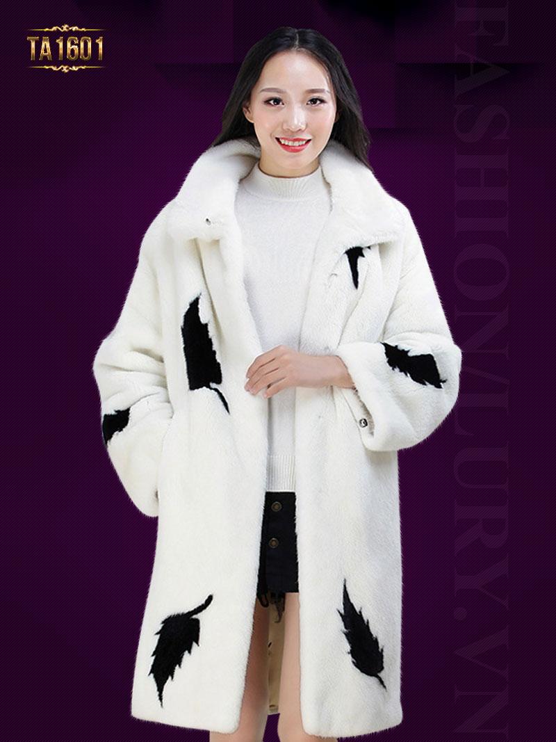 Áo khoác TA1601 mới 2017 chất lông thú 100% cao cấp họa tiết hoa lá