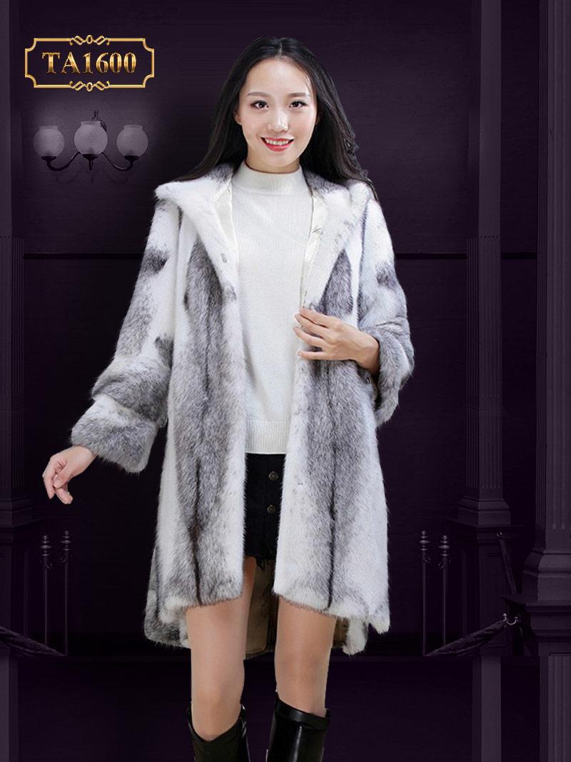 Áo khoác TA1600 mới 2017 chất lông thú 100% nhập khẩu dáng oversize xẻ vạt