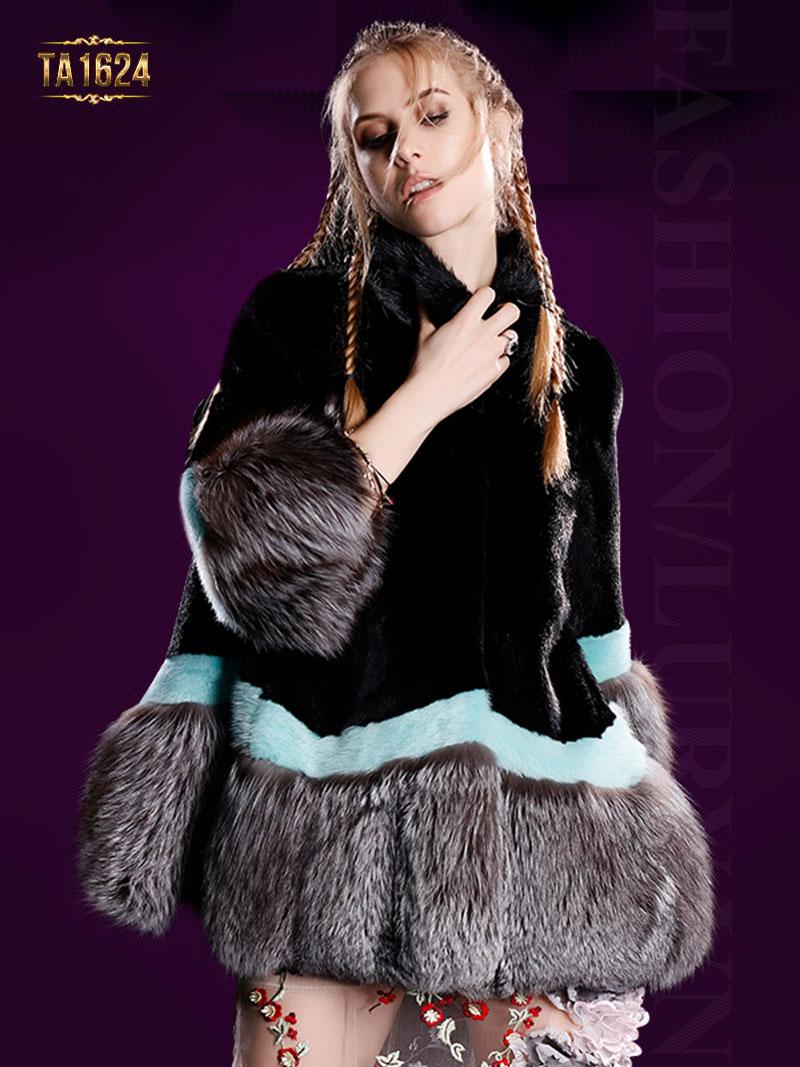 Áo khoác TA1624 mới 2017 chất lông thú 100% tự nhiên phối màu thời thượng