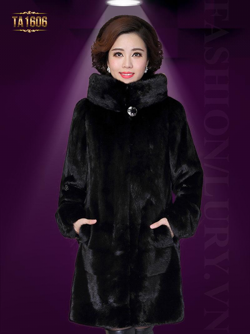 Áo khoác TA1606 mới 2017 chất lông thú 100% tự nhiên có mũ