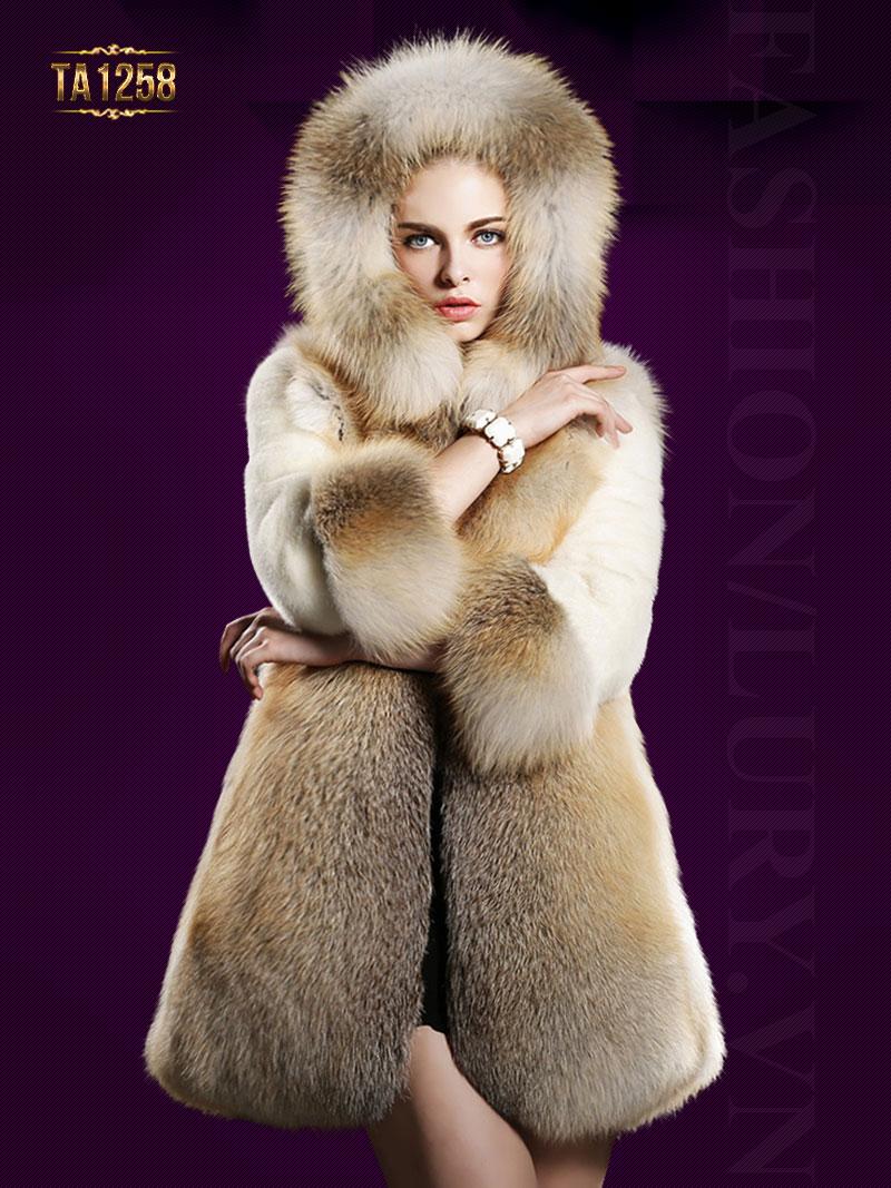 Áo khoác lông chồn có mũ oversize mix màu sang trọng