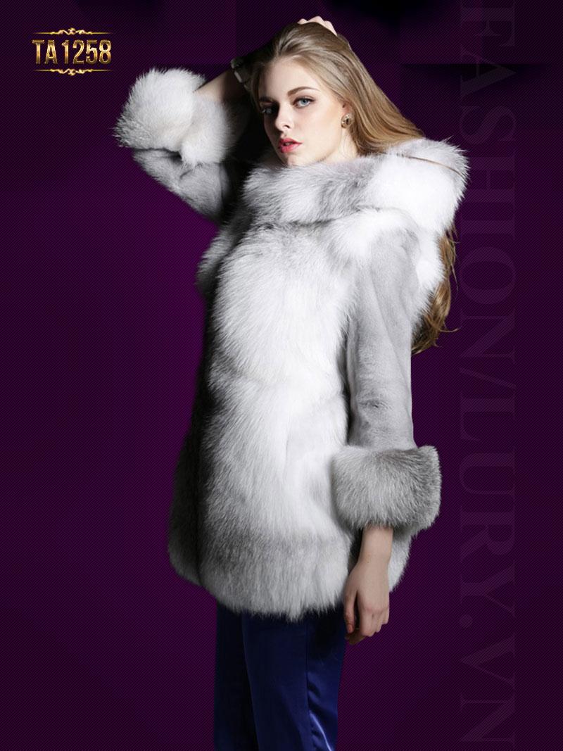Áo khoác lông có mũ oversize mix màu sang trọng TA1258 (Xám trắng)