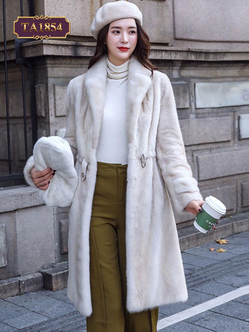 Áo khoác lông dáng dài đai rút cổ vest sang trọng TA1854