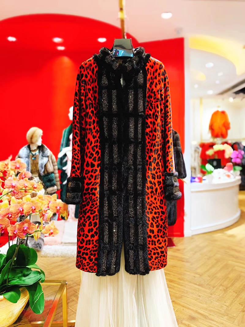 Áo khoác lông dáng dài họa tiết da báo thời thượng A19