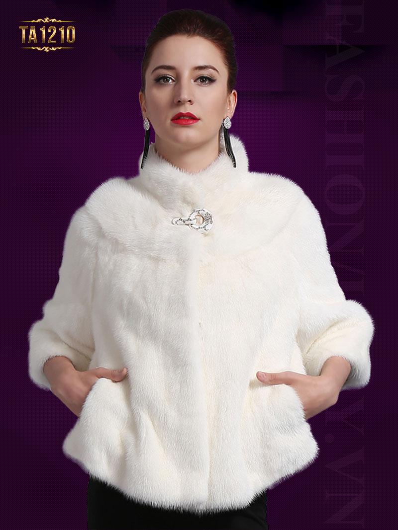 Áo khoác lông chồn dáng ngắn gam màu trắng trẻ trung, quý phái TA1210