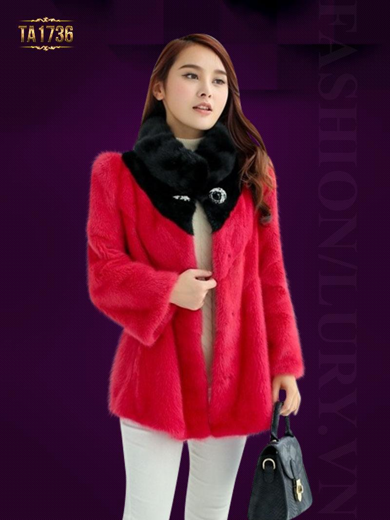 Áo lông TA1736 dáng ngắn phối màu cài khuy đá 2017 (Màu hồng)