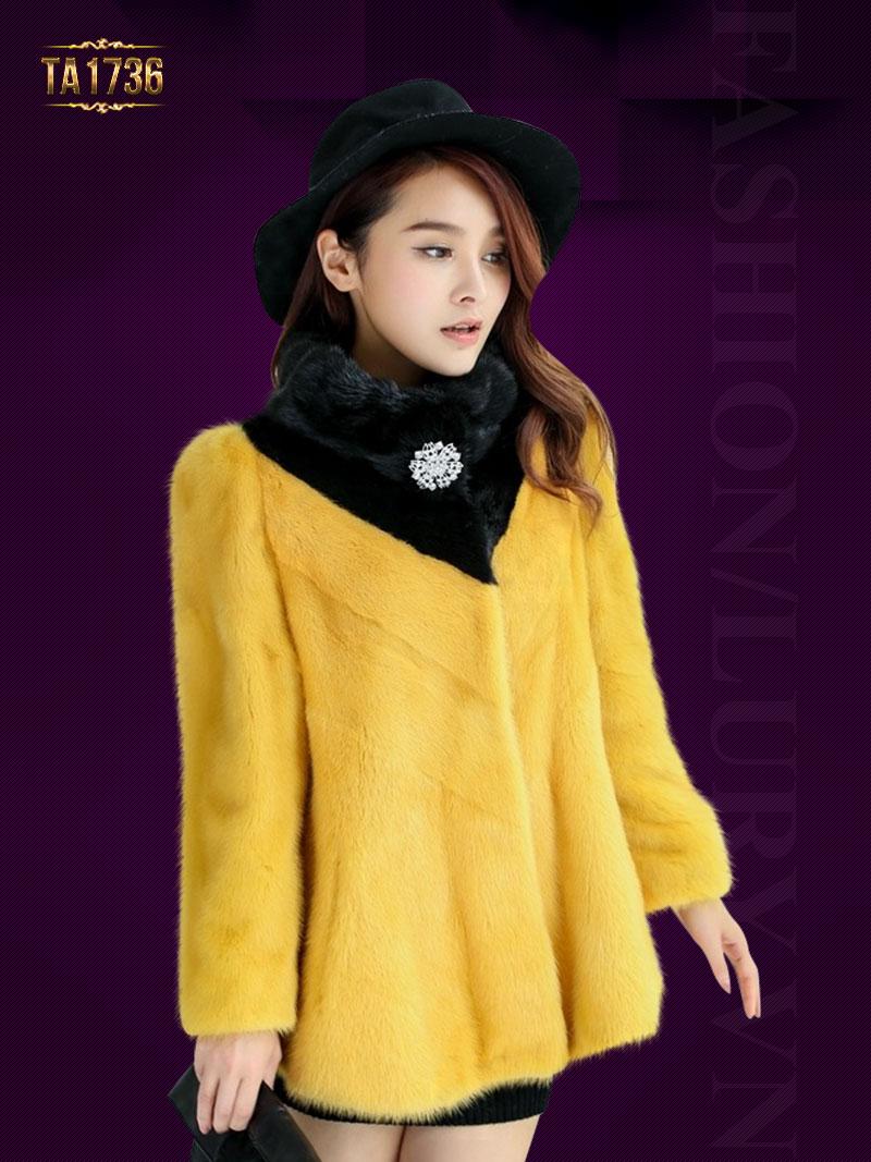 Áo lông TA1736 dáng ngắn phối màu cài khuy đá 2017 (Màu vàng)