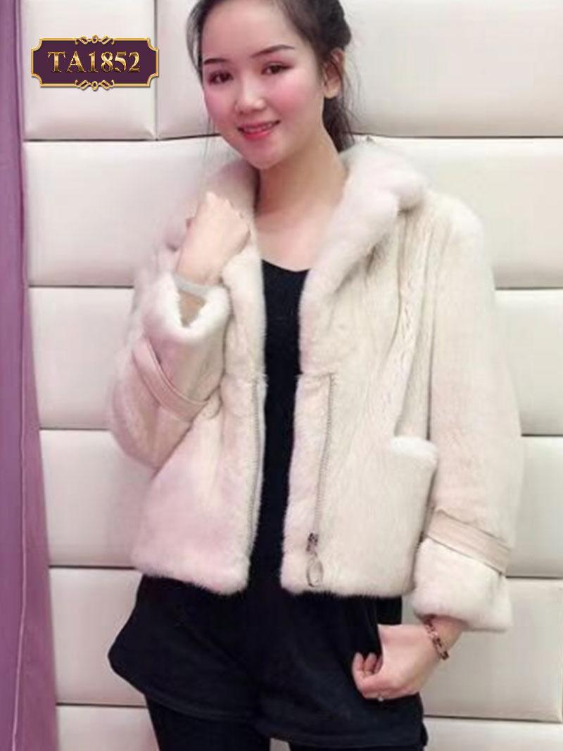 Áo khoác lông dáng ngắn có tay đai da thời trang TA1852