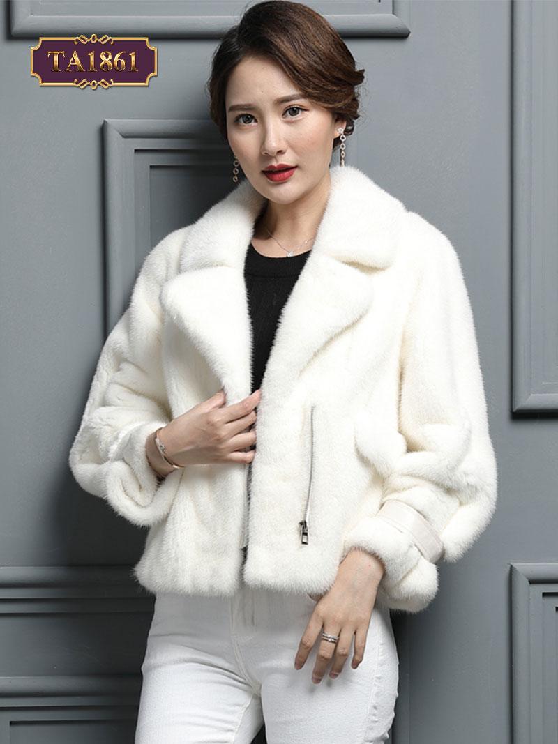 Áo khoác choàng lông túi khóa có đai da phong cách TA1861