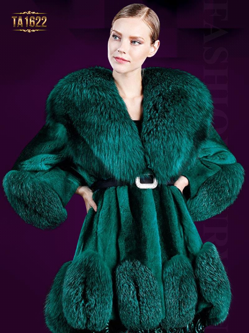 Áo khoác TA1622 mới 2017 chất lông thú 100% dáng váy kèm dây đai da