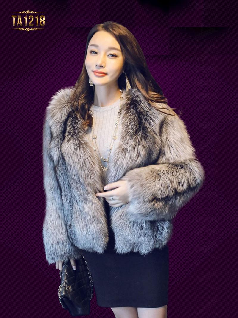 Áo khoác lông dày oversize dáng ngắn sang trọng