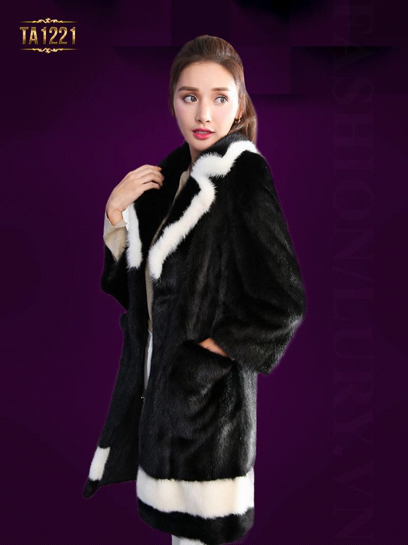 Áo khoác lông Hàn Quốc cao cấp phối viền thời trang TA1221