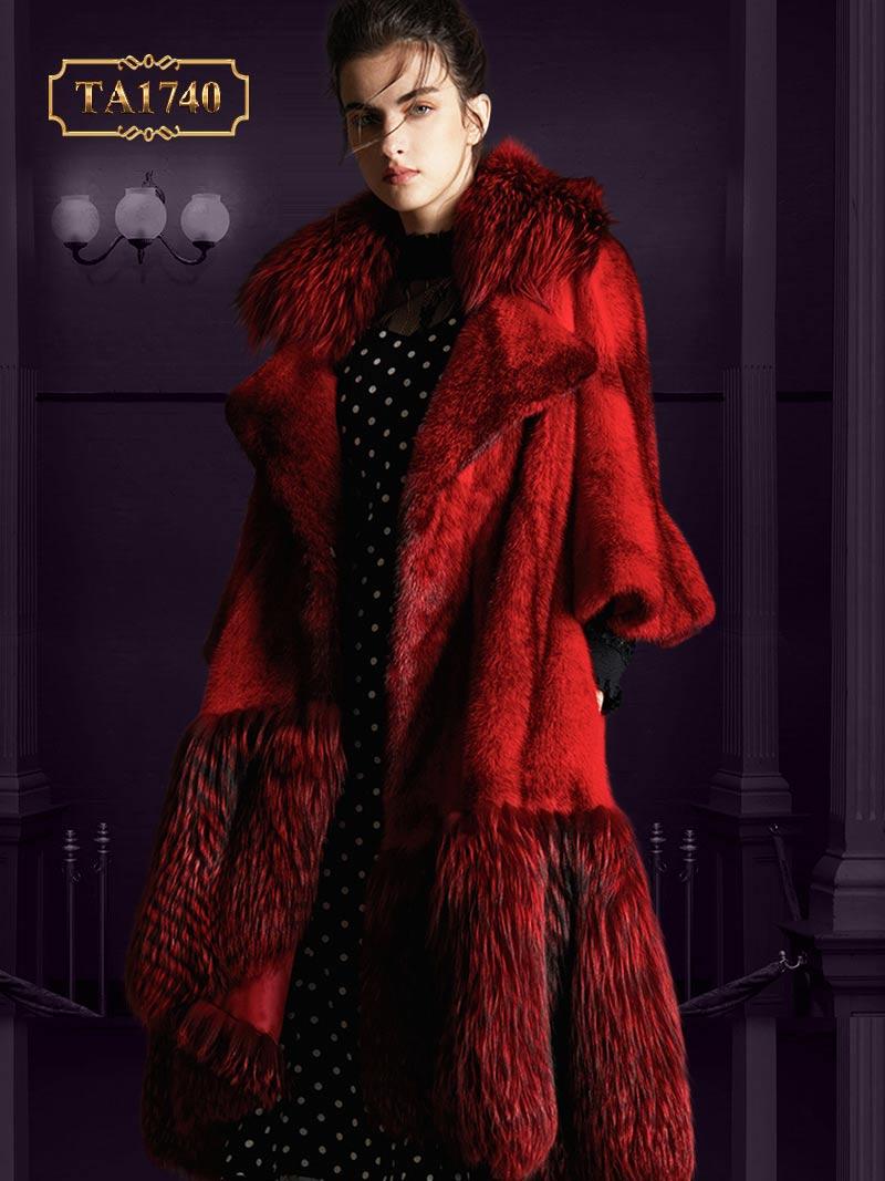 Áo khoác lông thú nữ TA1740 tự nhiên Bắc Mỹ cao cấp thiết kế mới 2019 (Màu đỏ)
