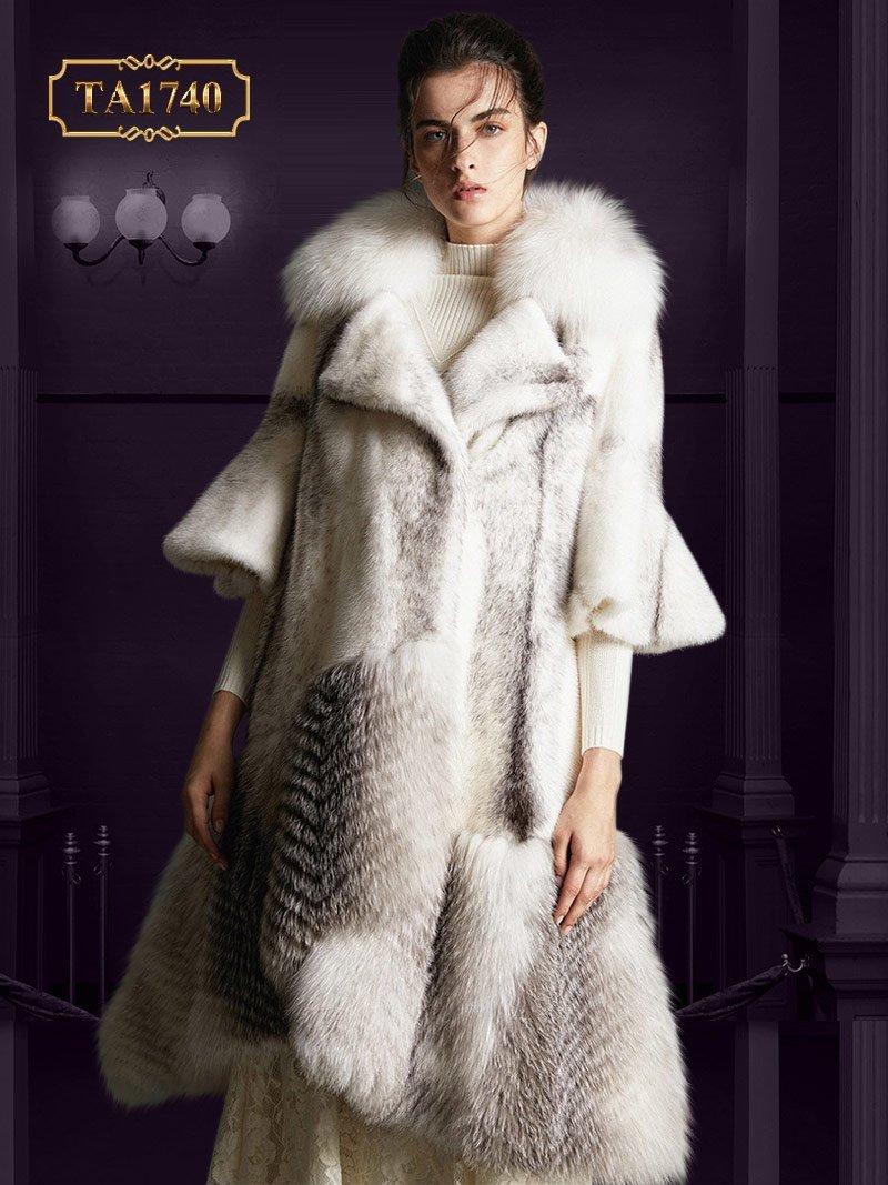 Áo lông thú nữ  TA1740 cao cấp Bắc Mỹ thiết kế mới 2019 TA1740 (Màu trắng)
