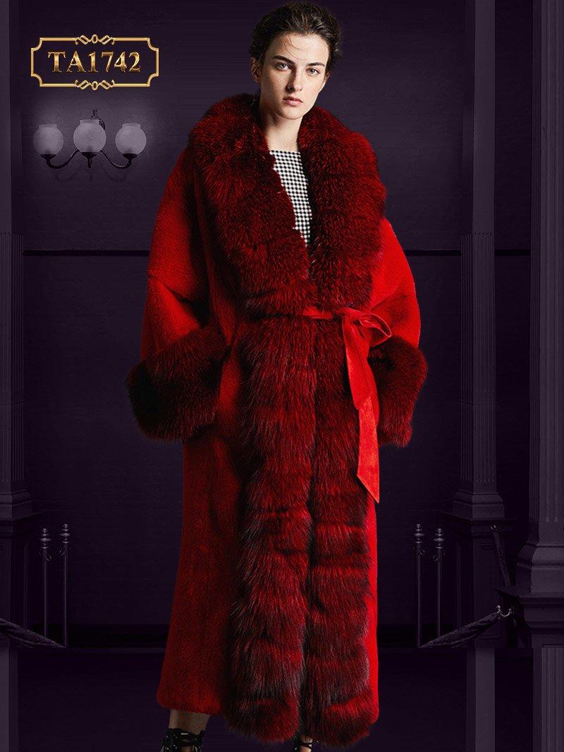 Áo khoác lông tự nhiên TA1742 hàng thiết kế độc quyền mẫu mới 2019 (Màu đỏ)