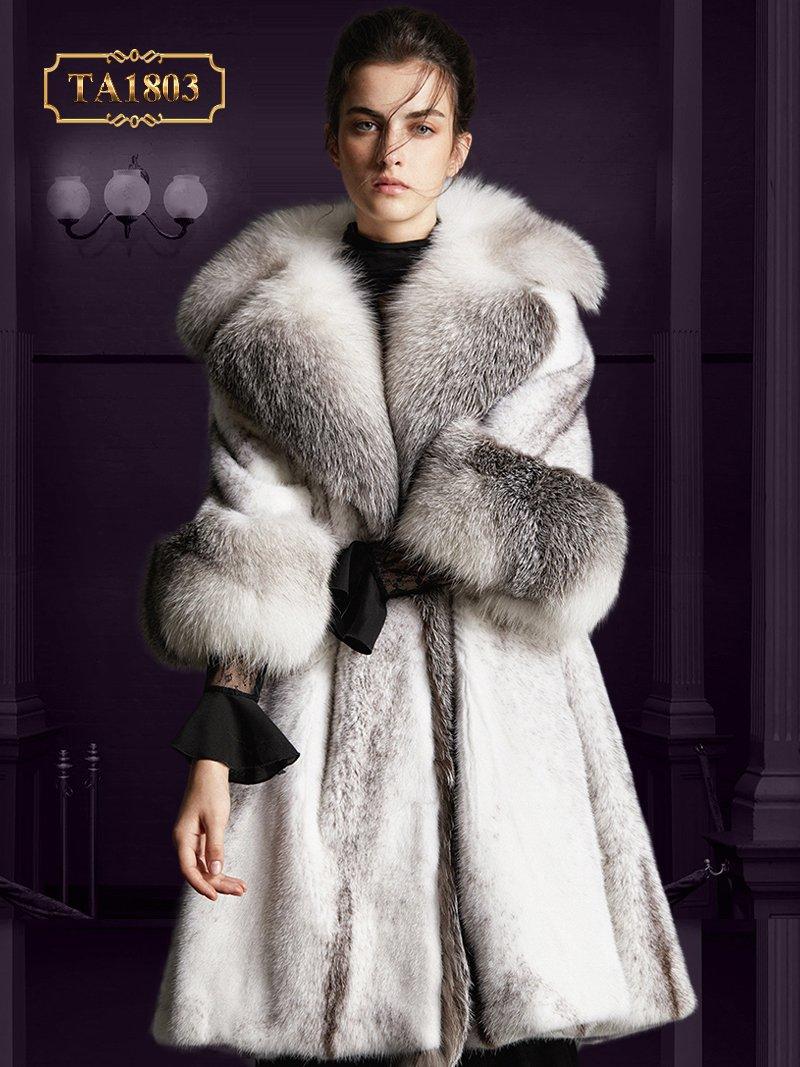 Áo khoác lông tự nhiên TA1803 hàng thiết kế độc quyền mẫu mới 2019 (Trắng xám)