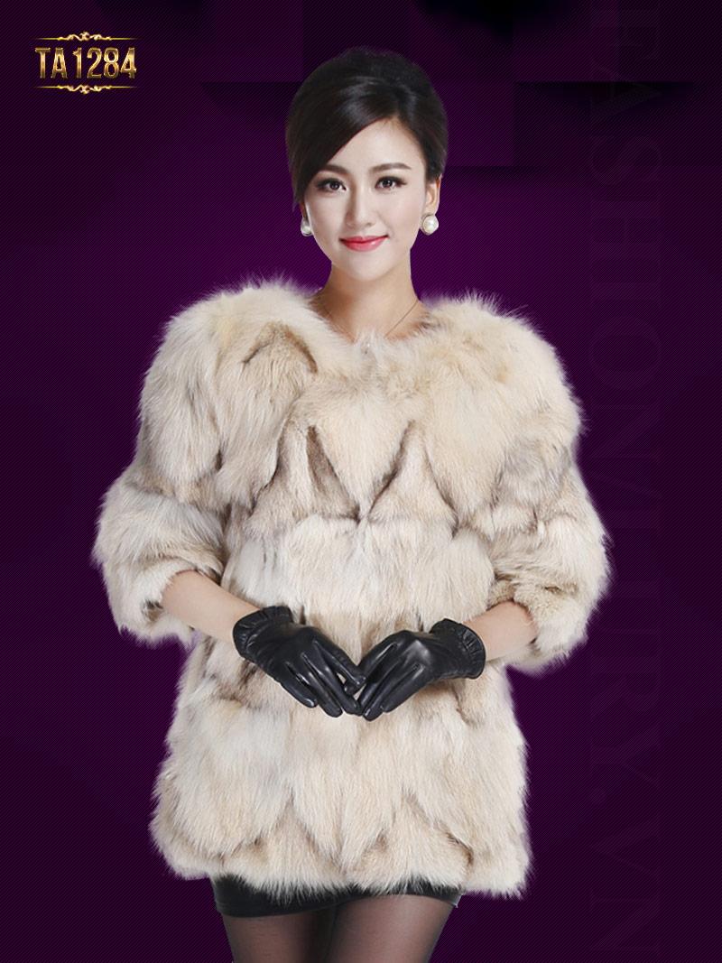 Áo khoác lông chồn Hàn Quốc tay lửng nhập khẩu cao cấp gam màu kem trẻ trung TA1284;