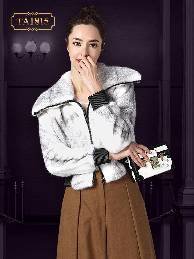 Áo khoác lông thật TA1815 acdáng ngắn bo đai mẫu giới hạn