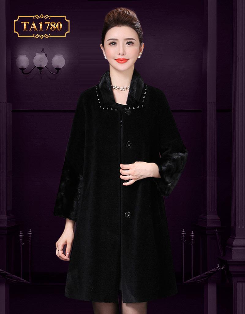 Áo khoác lông nhung hàng hiệu cổ đính đá mẫu mới 2019 TA1780