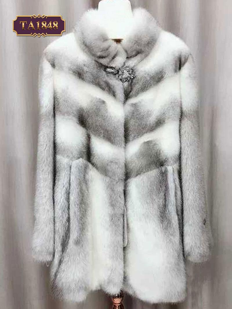 Áo khoác lông oversize thiết kế cổ trụ có tag cài trước TA1848