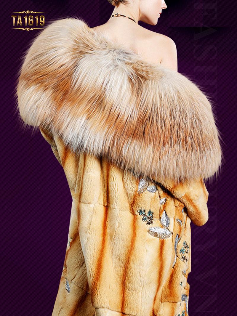 Áo khoác lông thú TA1619 tự nhiên style oversize họa tiết sang trọng