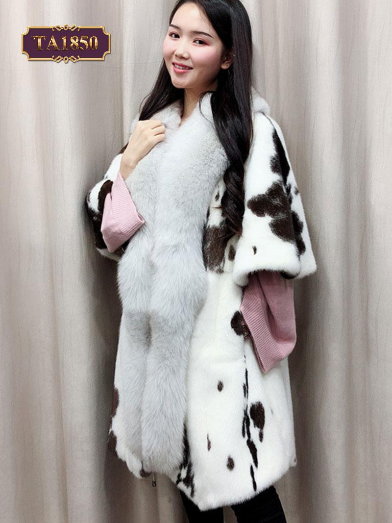 Áo khoác lông tay lỡ họa tiết sắc đốm đẳng cấp TA1850