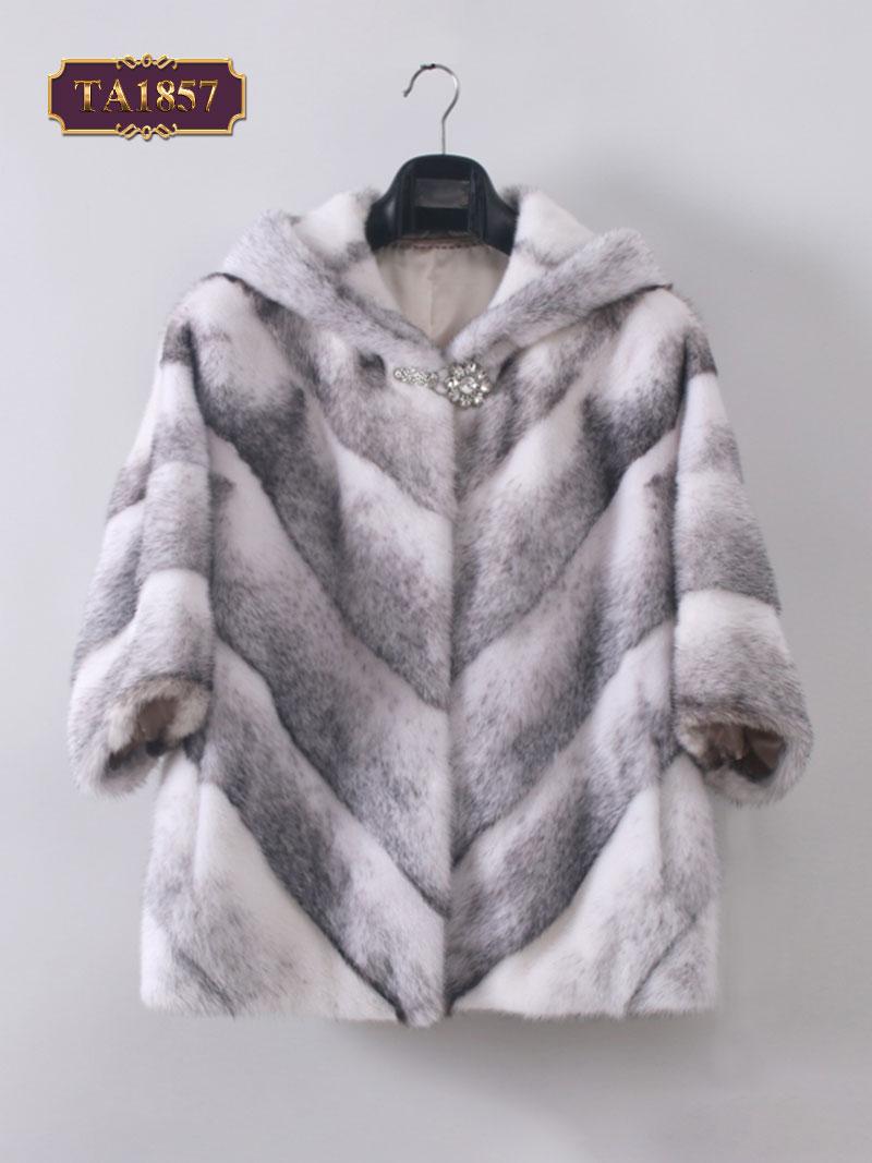 Áo khoác lông tay lỡ đính kèm tag cài đá TA1857