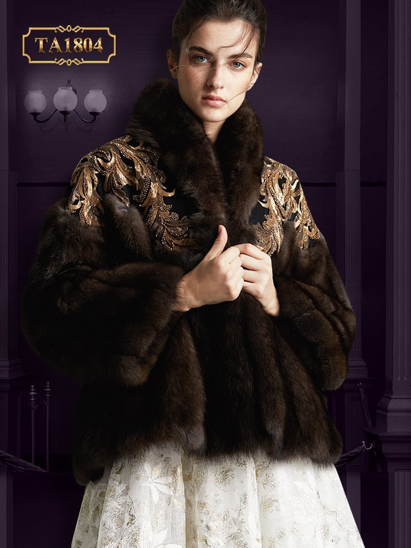 Áo khoác lông thời thượng TA1804  đính cườm cao cấp