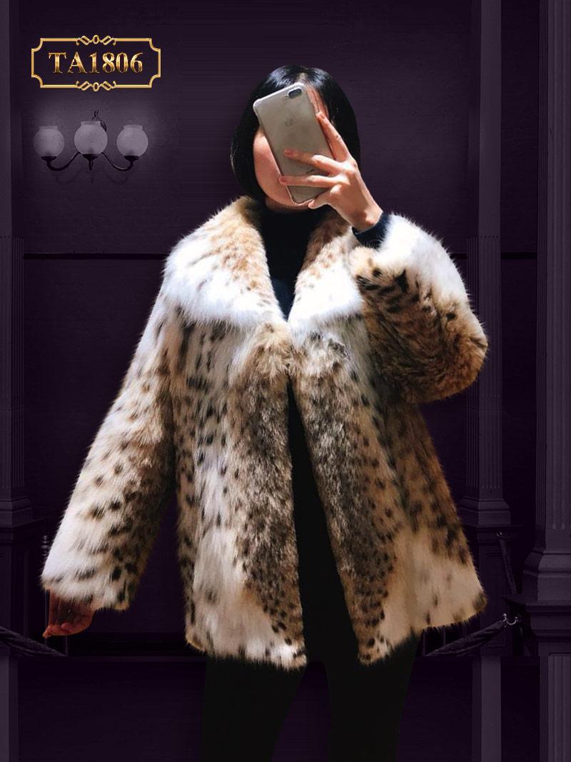 Áo khoác lông thú TA1806 thật 100% dáng dài viền nhún mẫu giới hạn