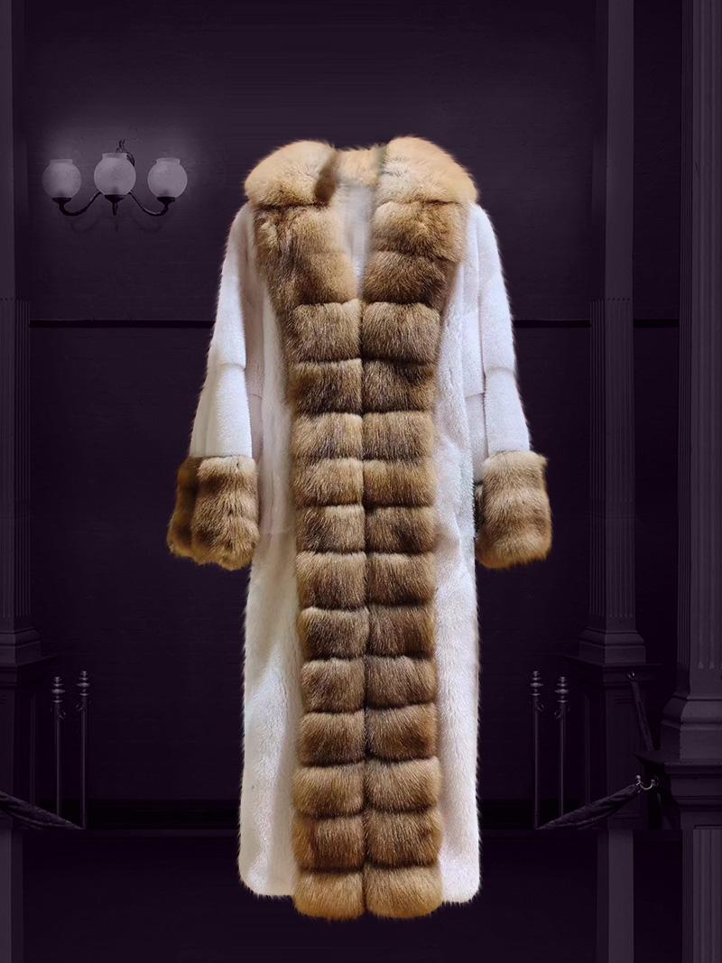 Áo khoác lông tự nhiên dáng dài thời thượng thiết kế độc quyền