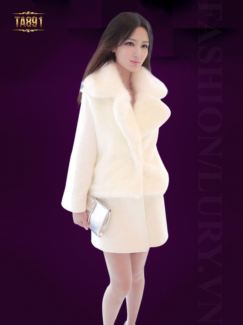 Áo khoác lông trắng cao cấp TA891