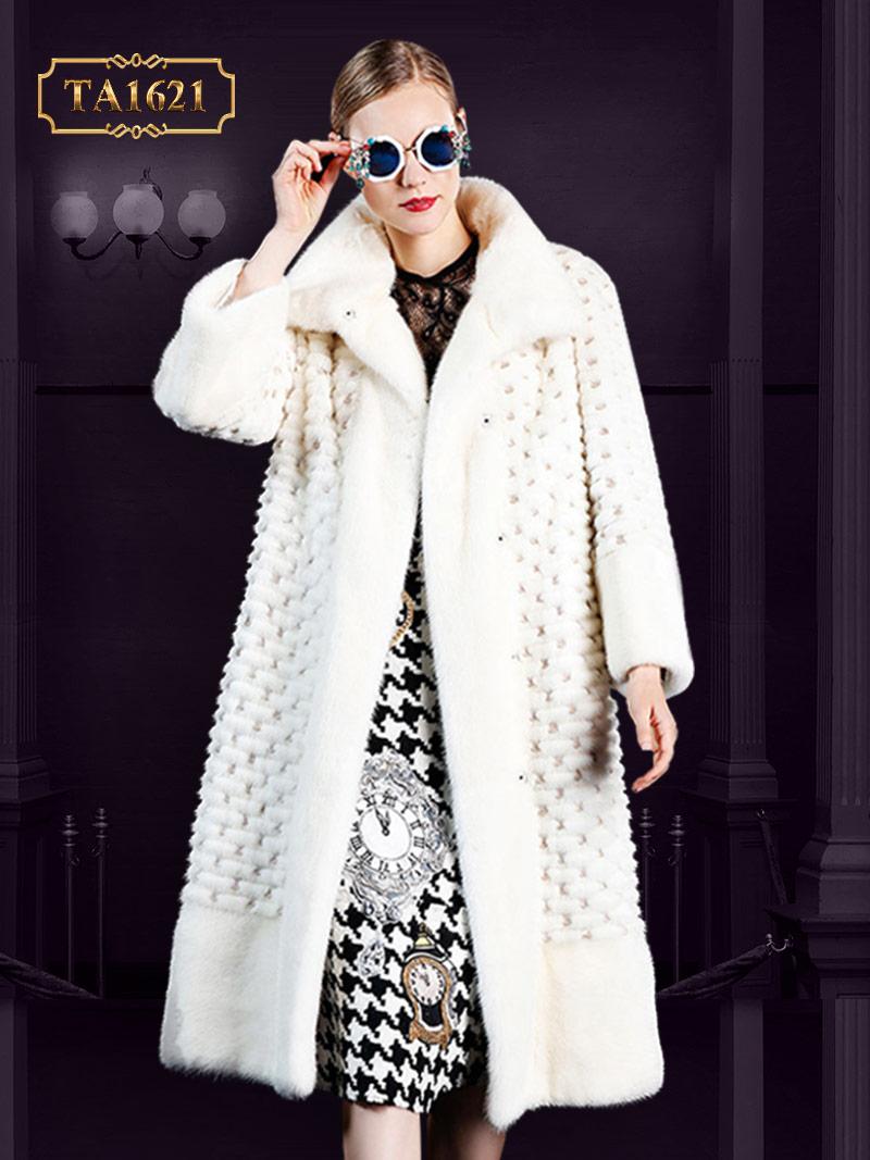 Áo khoác TA1621 mới 2017 lông trắng tự nhiên phối họa tiết chìm sang trọng