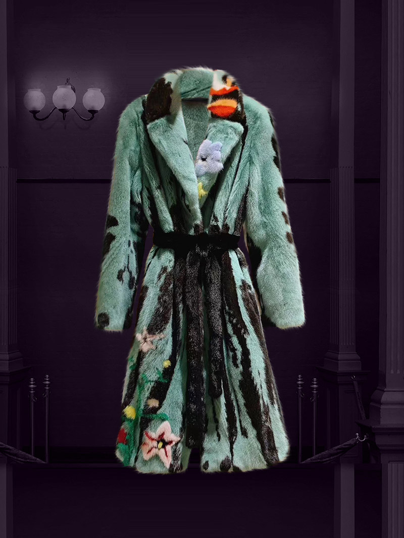 [New 2020]Áo khoác lông tự nhiên cao cấp điểm màu thêu hoa sang trọng