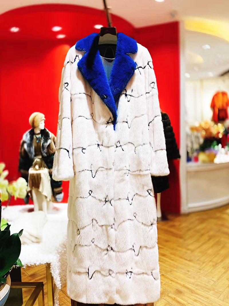 Áo khoác lông tự nhiên dáng dài cổ vest sang trọng