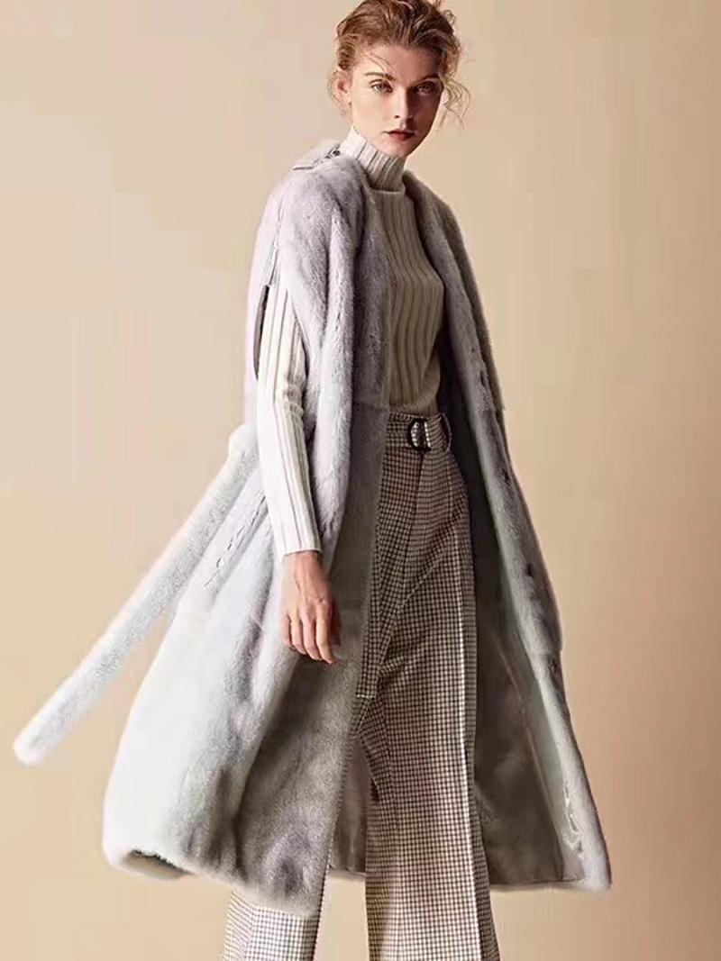 Áo khoác lông tự nhiên dáng dài kiểu gile hiện đại A12