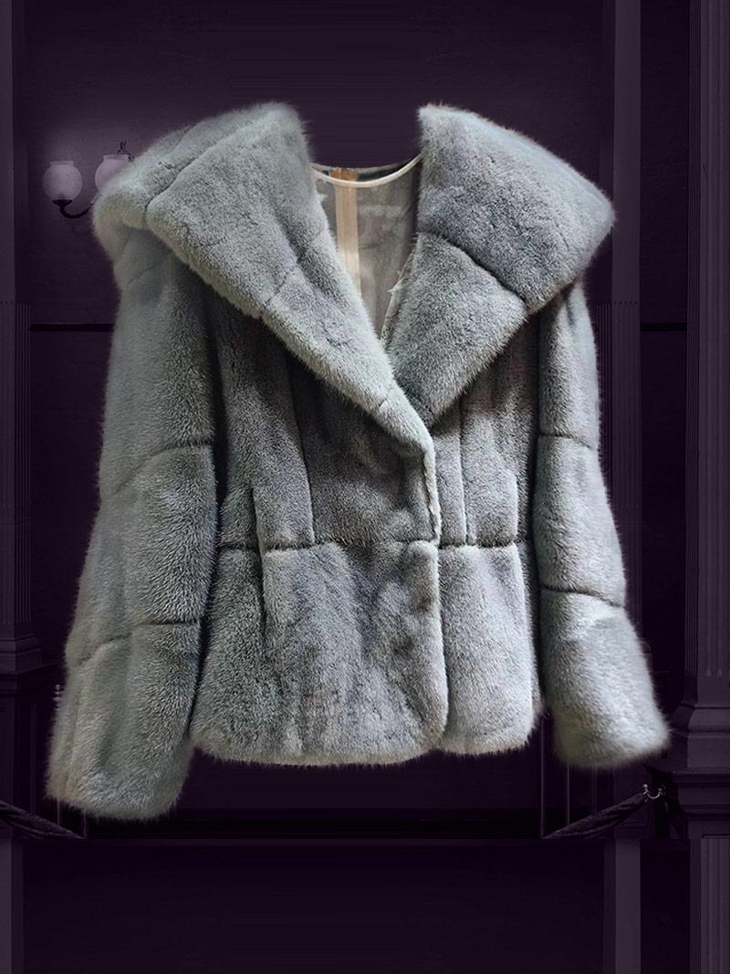 [New 2020]Áo khoác lông tự nhiên dáng ngắn cổ vest có mũ